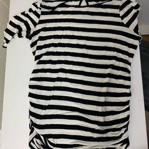 White and black striped maternity top